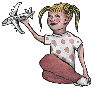Girl with toy airplane, Illustration by Erinn Acland